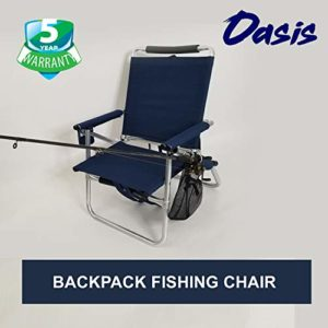 Oasis Backpack Fishing Chair – Portable Folding Extremely Mild Chair with Padded Carrying Straps & Padded Lumbar Pork up Bar- All Aluminum Fishing Chair with Cup & Fishing Rod Holder – US Patented