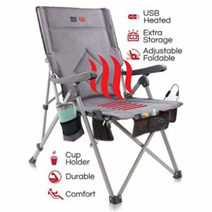 The Hot Seat, Heated Portable Chair, Estimable for Tenting, Outside Sports actions, Seaside, and Picnics. USB Heated with Extra-splendid Armrests, X-Friendly Commute Decide up, 5 Pockets, Cup Holder, Battery Pack NOT Included