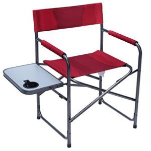 PORTAL Compact Steel Body Folding Director's Chair Transportable Tenting Chair with Aspect Desk, Supports 225 LBS, Crimson