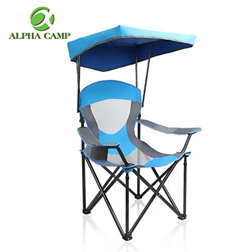 ALPHA CAMP Mesh Canopy Chair Folding Camping Chair – Royal Blue
