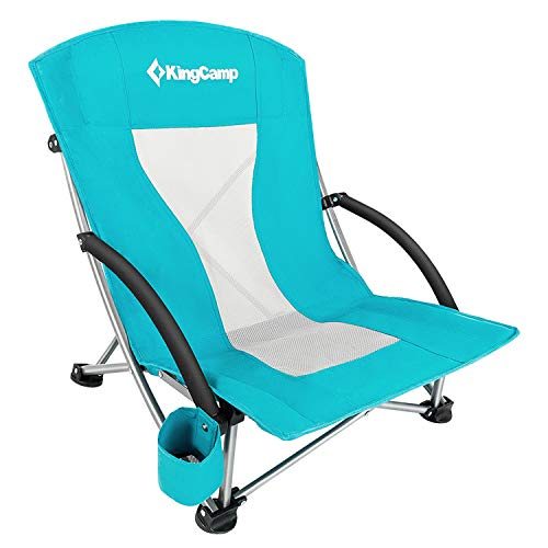 KingCamp Low Sling Seaside Camping Folding Chair with Mesh Lend a hand (Cyan)