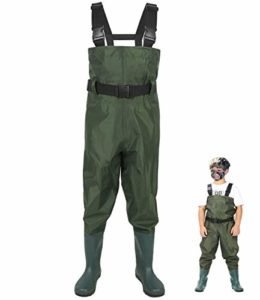 LANGXUN Hip Waders for Children, Lightweight and Breathable PVC Fishing Waders for Youngsters, Waterproof Bootfoot Waders for Boy and Lady, Navy Inexperienced Chest Waders for Ladies (10/11
