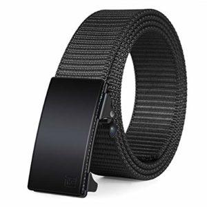 Fairwin Internet Belt-Ratchet Belt-1.25 Dawdle Nylon Computerized Depart Belt-No Holes (Sunless-02, M- Waist 36″-42″)