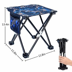 Mini Folding Stool, Transportable Lightweight Outside Folding Chair with Raise Fetch, 600D Oxford Cloth, Backpack Outside Chair for BBQ, Camping, Ice Fishing, Hurry, Mountaineering, Backyard, Seaside,11.8″x11.8″x13.4″