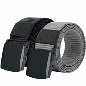 Hoanan 2 Pack Military Tactical Belt, No Metal Webbing Nylon Web Belt 1.25″ Wide