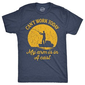 Mens Cannot Work This day My Arm is in A Forged T-Shirt Humorous Fishing Fathers Day Tee (Heather Navy) – XL