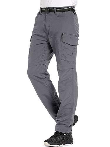 Jessie Kidden Hiking Pants Mens, Exterior UPF 50+ Rapid Dry Light-weight Zip Off Convertible Fishing Cargo Pants with Belt (6055 Gray, 34)