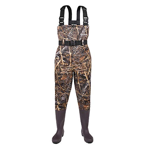 FISHINGSIR Fishing Chest Waders for Men with Boots Mens Womens Camo Waders Searching Bootfoot Waterproof Nylon and PVC with Wading Belt
