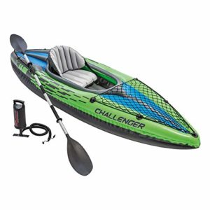 Intex Challenger K1 Kayak, 1-Person Inflatable Kayak Dwelling with Aluminum Oars and High Output Air Pump