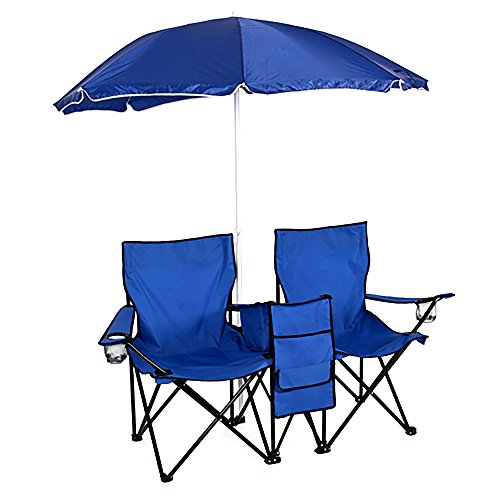 Crazyworld Double Folding Chairs With Detachable Umbrella Desk Cooler Earn Fold Up Steel Enhance Dual Seat For Outside Patio Garden Picnic Garden Seaside Camping Fishing,Blue
