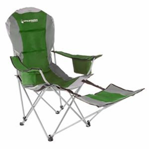 Wakeman Open air Camp Chair with Footrest-300lb. Ability Recliner Quad Seat-Cup Holder, Cooler, Carry Ranking-Tailgating, Tenting, Fishing (Green)