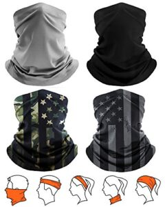 [4 Pack] Unisex Solar UV Security Cooling Face Scarf Duvet Conceal Neck Gaiter, Scarf Fishing Conceal, Reusable Breathable Bandana Balaclava, Motorcycle Face Duvet for Men Ladies (2 Solid+2 US Flag-8)