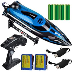 HONGXUNJIE 2.4Ghz RC Boat- 20 mph High Scuttle A long way off Withhold an eye on Boat for Adults and Young other folks for Lakes and Pools with 2 Rechargeable Batteries, Low Battery Terror, Capsize Restoration (Blue)