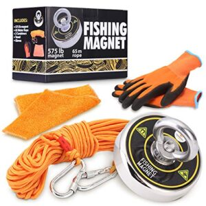 575 LB Fishing Magnet Situation Worthy Neodymium Magnet Fishing Magnets with 20 Meter (65ft) Rope 2 Carabiners a Towel and PreThread Locked for Deep Sea Salvage Admire Wanting