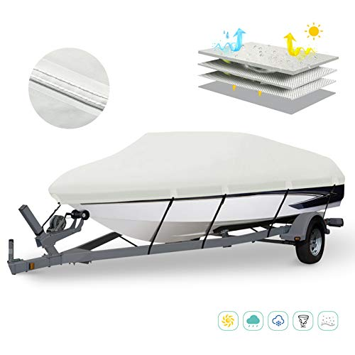 HAHASOLE Heavy Responsibility 600D PU Oxford Marine Grade Polyester Canvas Trailerable Water-resistant Boat Quilt, Suits 17′-19′ / 20′- 22′ V-Hull, Tri-Hull, Runabout, Bass Boat with Tightening Strap