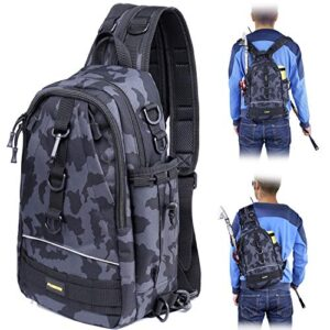 PLUSINNO Fishing Kind out Backpack Storage Salvage,Originate air Shoulder Backpack,Fishing Tools Salvage,Water-Resistant Fishing Backpack with Rod Holder-MCH