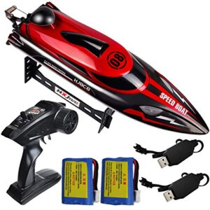 HONGXUNJIE 2.4Ghz RC Boat- 20 mph High Velocity A long way flung Help a watch on Boat for Adults and Kids for Lakes and Swimming pools with 2 Rechargeable Batteries, Low Battery Dread, Capsize Restoration (RED