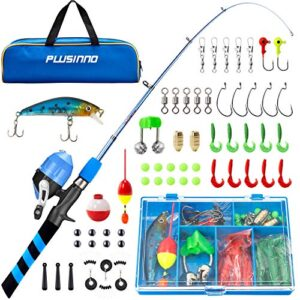 PLUSINNO Formative years Fishing Pole, Transportable Telescopic Fishing Rod and Reel Combo Bundle – with Spincast Fishing Reel Kind out Field for Boys, Ladies, Formative years…