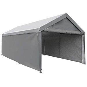 Abba Patio Extra Huge Heavy Accountability Carport with Detachable Sidewalls Transportable Storage Automobile Canopy Boat Shelter Tent for Party, Marriage ceremony, Backyard Storage Shed 8 Legs, 12 x 20 Toes, Sad Grey