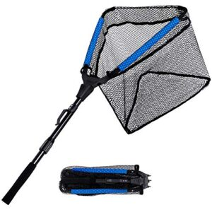 PLUSINNO Floating Fishing Catch, Rubber Coated Fish Landing Catch – Straightforward Rob and Inaugurate, Foldable Telescopic Fishing Catch for Freshwater or Saltwater