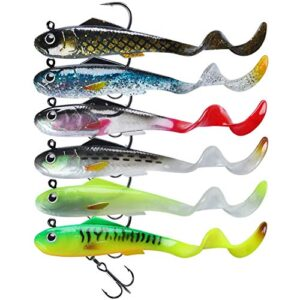 TRUSCEND Fishing Lures for Bass Trout 6PCS Jighead Lures Paddle Tail Swimbaits Mushy Fishing Baits Freshwater Saltwater Jigging Lures