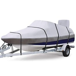 RVMasking Waterproof & Ripstop 900D Trailerable Fat Measurement Boat Camouflage Gray for 17″-19″ V-Hull Runabouts Outboards and I/O Bass Boats, Free Motor Camouflage