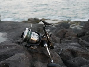 Shimano Baitrunner OC on rocks by the sea